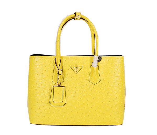 Prada Ostrich Veins Leather Tote Bag BN2756 Lemon