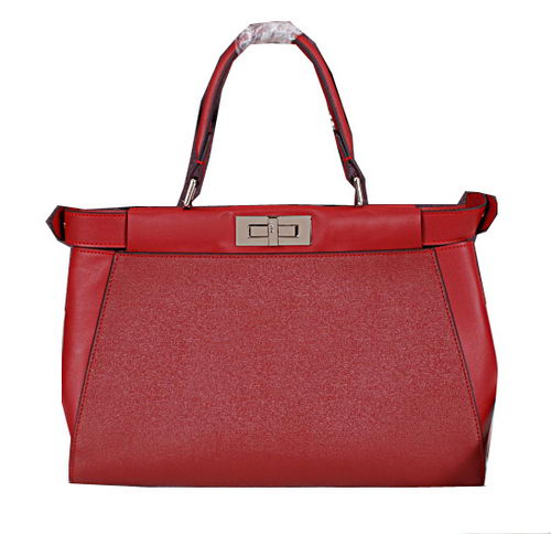 Fendi Icoic Peekaboo Bag Saffiano Leather FD8928L Burgundy