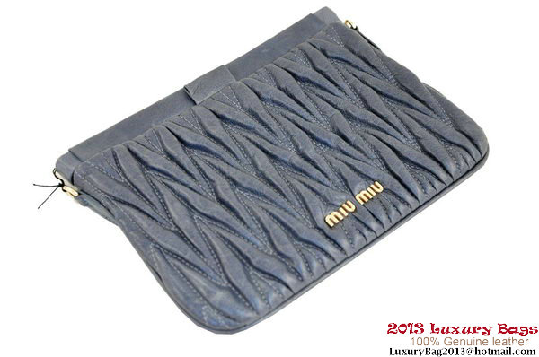 miu miu Matelasse Leather Clutches R0038 Grey