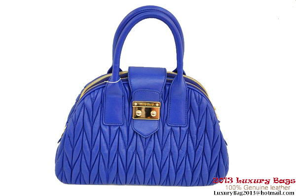 miu miu RL0073 Matelasse Shiny Leather Top Handle Bag Blue