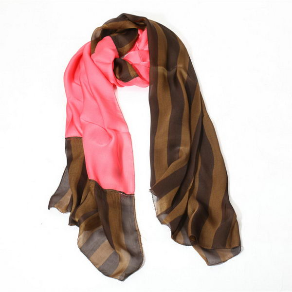 Fendi Scarves Silk WJFD04 Pink&Brown