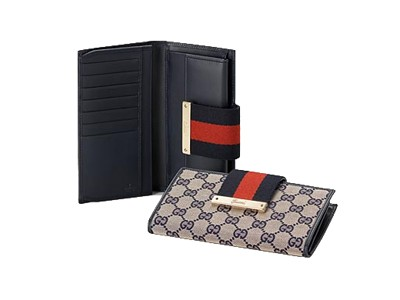 Gucci Continental GG Fabric Wallet 181668 Beige Blue