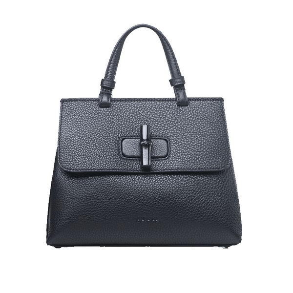 Gucci Bamboo Daily Leather Top Handle Bag 370831 Black