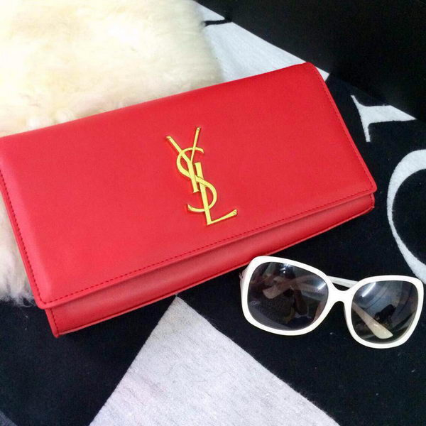 Yves Saint Laurent Classic Monogramme Clutch 30210 Red