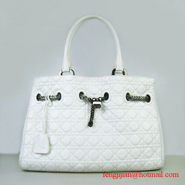 Dior Sheepskin Leather Cannage Stitching Large Tote Bag White 1833