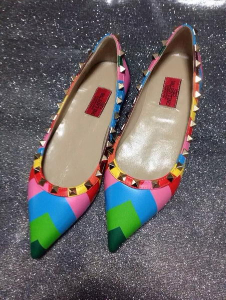 Valentino Point-Toe Flat Sheepskin Leather VT428 Multicolour