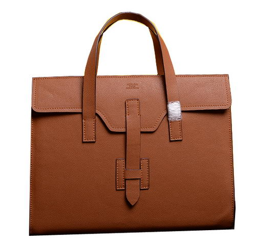 Hermes Briefcase Original Grainy Calf Leather H1120 Wheat