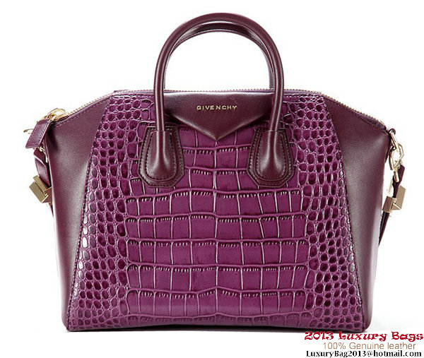 Givenchy Antigona Bag Crocodile Leather G003 Purple