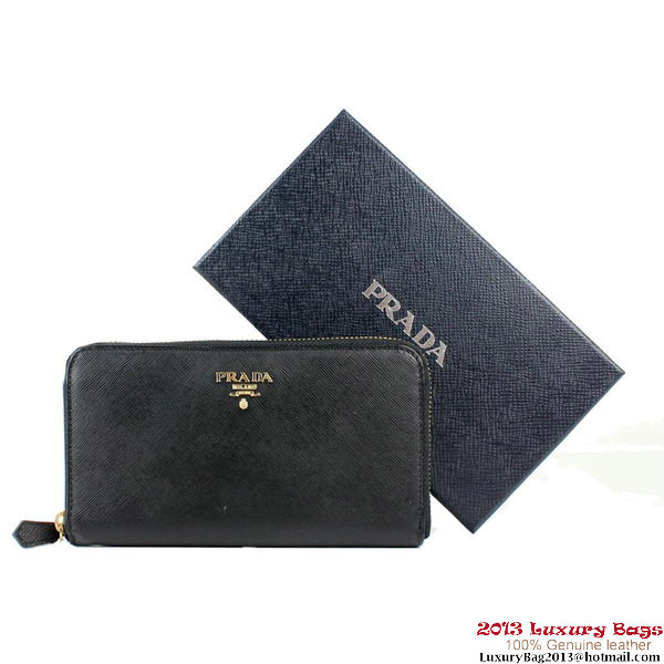 Prada Saffiano Calf Leather Zippy Wallet 1M0506 Black