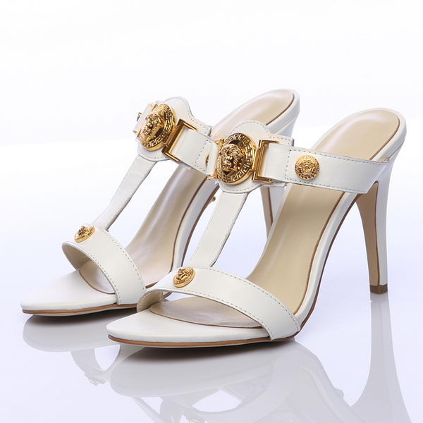 Versace 100mm Sandals in Sheepskin Leather V15 White