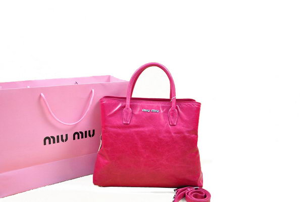 miu miu Shiny Calfskin Leather Tote Bag BN0967 Peach