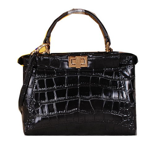 Fendi Icoic mini Peekaboo Bag Croco Leather FD1026 Black