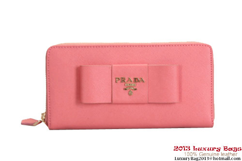 Prada Saffiano Leather Wallet with Leather Bow 1M0506 Dark Pink