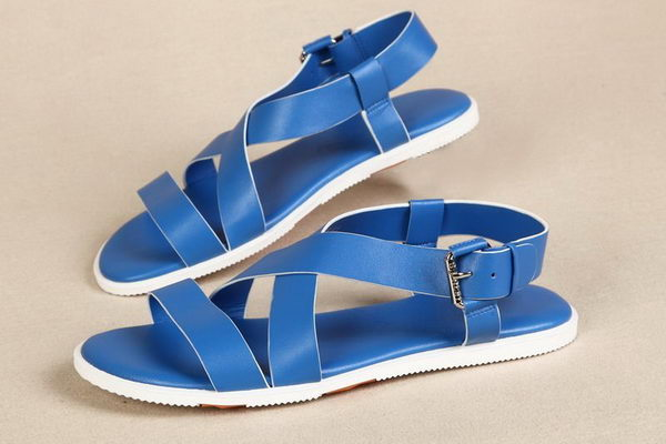 Hermes Calfskin Leather Sandals HO0321 Blue