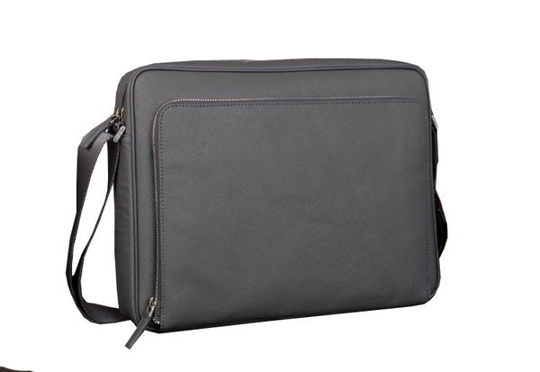 Prada Saffiano Calf Leather Messenger Bag 80087-3 Gray