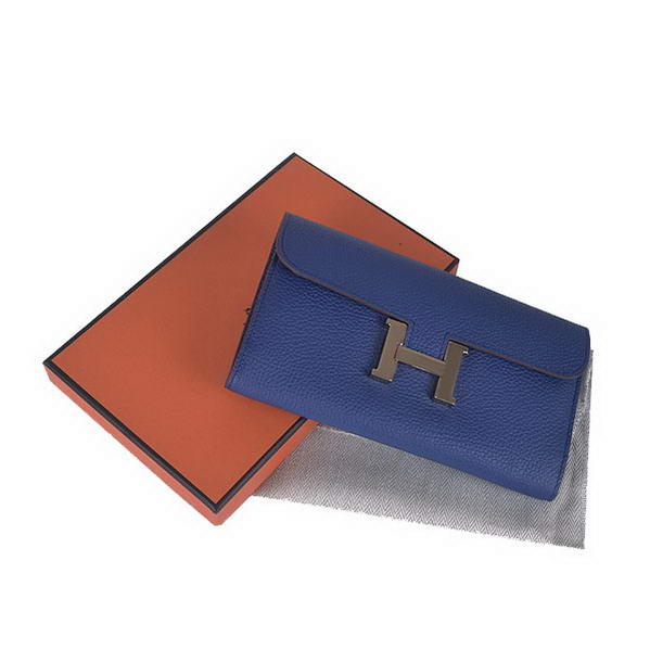Hermes Constance Long Wallets Royalblue Calfskin Leather Gold