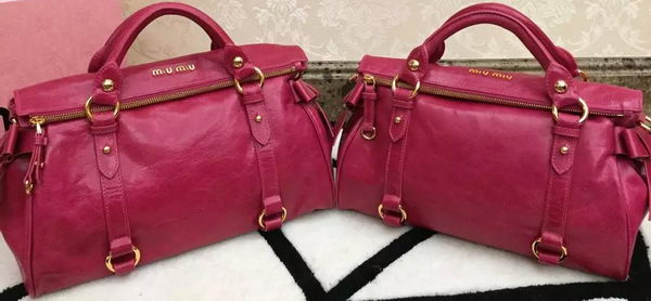 miu miu Bowknot Top Handle Bag Bright Leather M0632 Rose