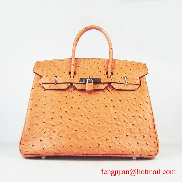 Hermes Birkin 35cm Ostrich Veins Handbag Light Orange 6089 Silver Hardware