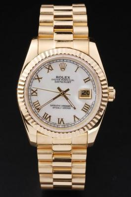 Rolex Datejust Golden White Cutwork Men Watch-RD2402