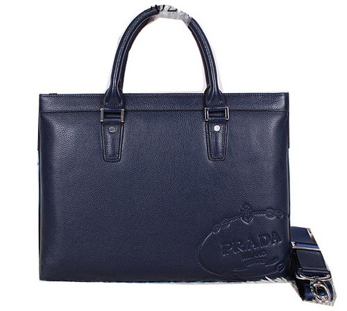 Prada Grainy Leather Briefcase P80231 Royal