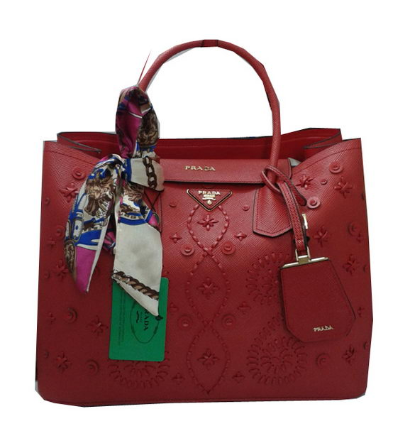 Prada Weave Original Leather Tote Bags B2756A Red