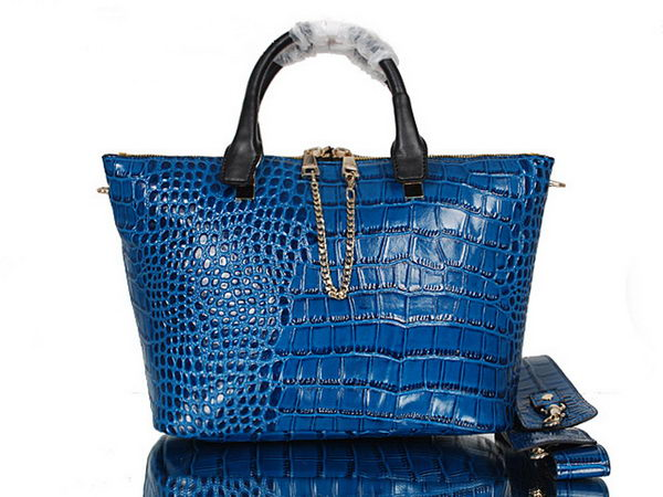 Chloe Baylee Small Croco Leather Tote Bag C0168 Blue