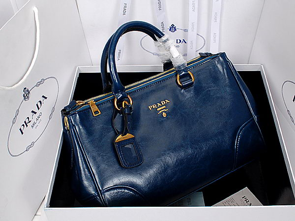 Prada Shiny Calf Leather Tote Bag BN6250 RoyalBlue