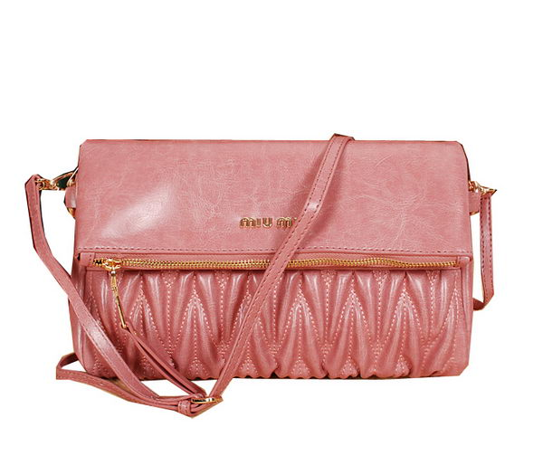 miu miu Pressed Matelasse Nappa leather Shoulder Bag 88301 Pink