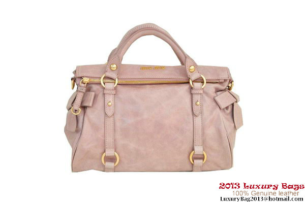 miu miu RT0632 Shiny Calf Top Handle Bag Light Pink
