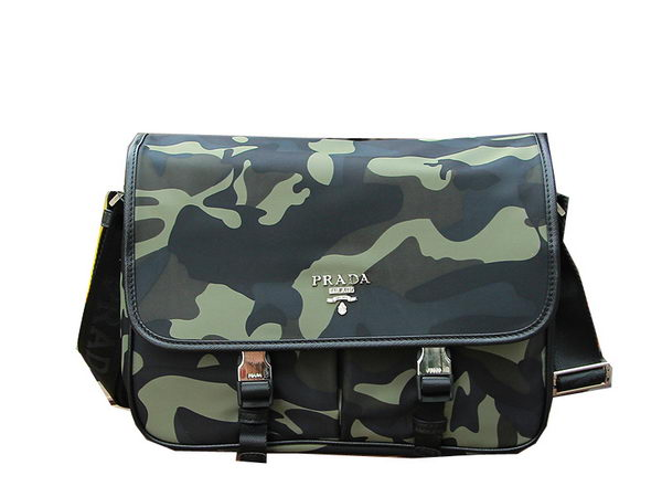 Prada Nylon Fabric Messenger Bag VA0768 Green