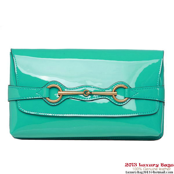 Gucci Bright Bit Patent Leather Shoulder Bag 317636 Green