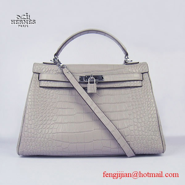 Hermes Kelly 32cm Crocodile Veins Leather Bag Grey 6108