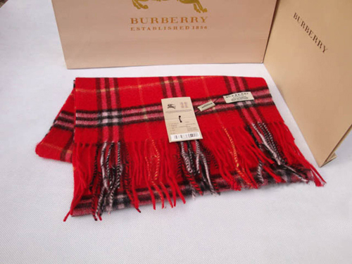 Burberry Cashmere Red Nova Check Scarf