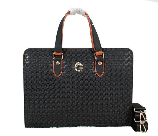 Gucci Guccissima Leather Business Briefcase 52267 Black