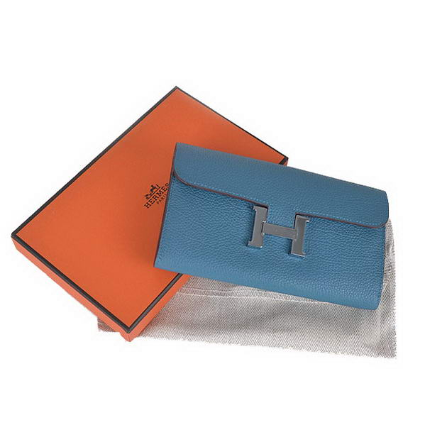 Top Quality Hermes Constance Long Wallets Blue Calfskin Leather Silver