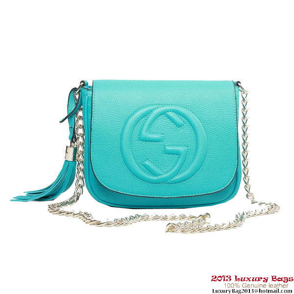 Gucci Soho 323190 Light Blue Leather Chain Shoulder Bag