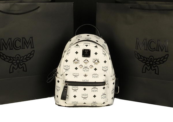 MCM Stark Backpack Medium in Calf Leather 8003 White