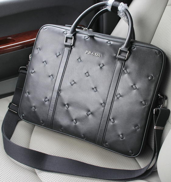 Prada Original Leather Briefcase VA0667 Black