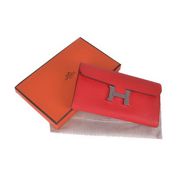 Hermes Constance Long Wallets Red Calfskin Leather Silver