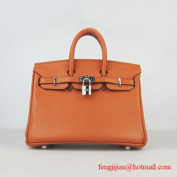 Hermes Birkin 25cm Embossed Leather Handbag 6068 Orange Silver Palladium hardware
