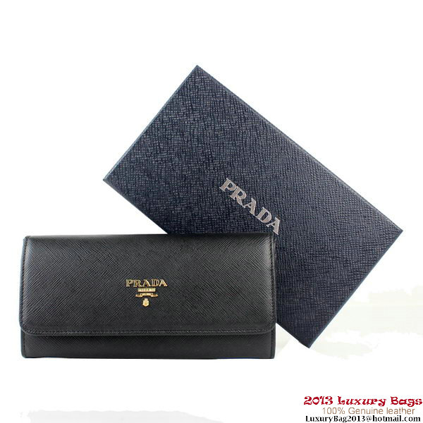 Prada Saffiano Calf Leather Wallet 1M1132B Black