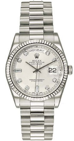 Rolex Day-Date Series Mens Automatic 18kt White Gold Wristwatch 118239-SD