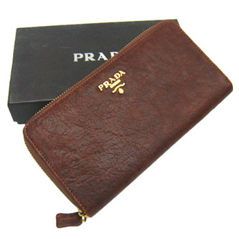 Prada Lambskin Zip Around Wallet B806 Light Coffee