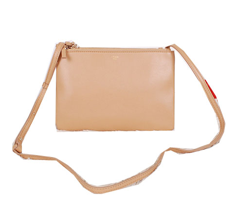 Celine Trio Calfskin Leather Shoulder Bag C27002 Apricot