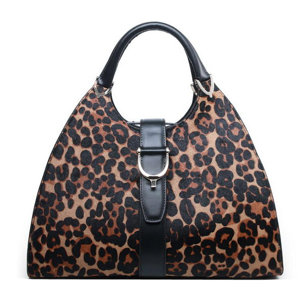Gucci Stirrup Medium Top Handle Bag 277514 Leopard