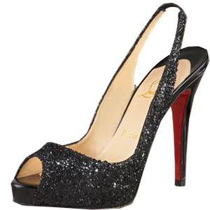Christian Louboutin Red Sole Shoes Black Glitter Slingback Platform Shoes