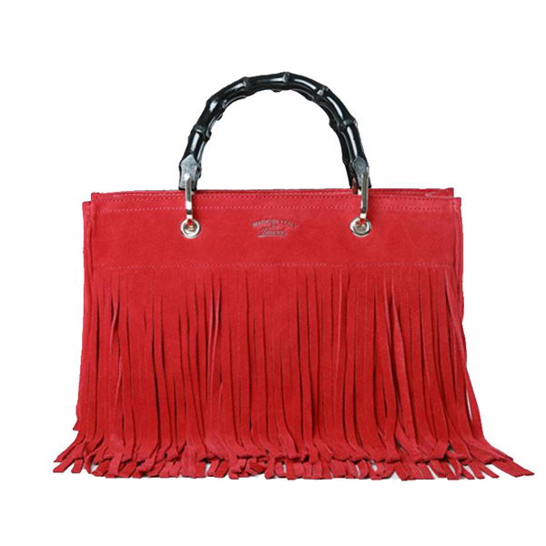Gucci Bamboo Fringe Shopper Suede Tote Bag 349198 Red