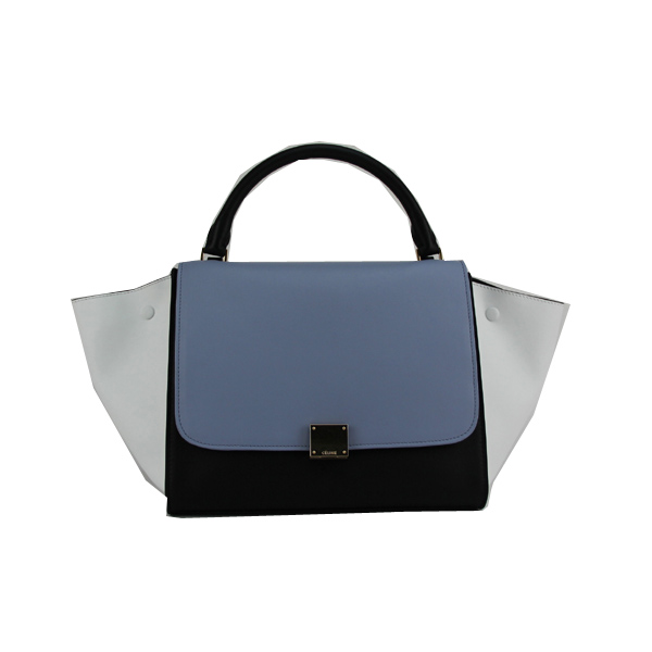 Celine Trapeze Bag Calfskin & Nubuck Leather 88037 White&Blue&Black
