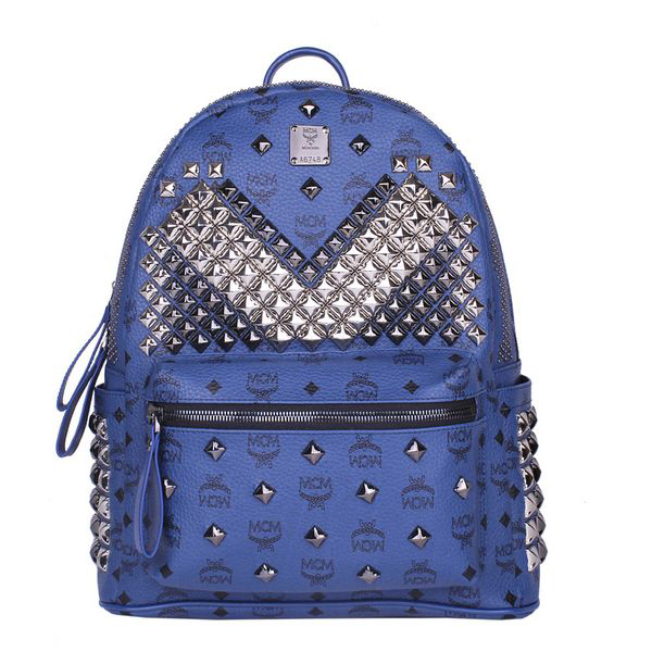 MCM Medium Stark Front Studs Backpack MC4237 Royal