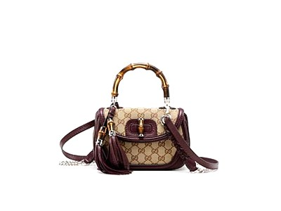 Gucci Bamboo Small Top Handle Bag 247143 Beige Maroon